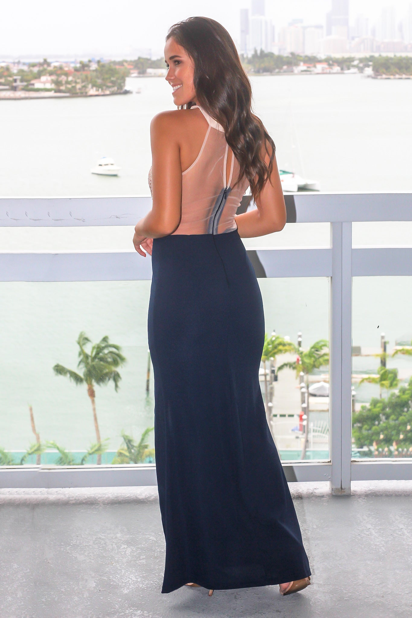 Navy Maxi Dress with Jeweled Halter Top