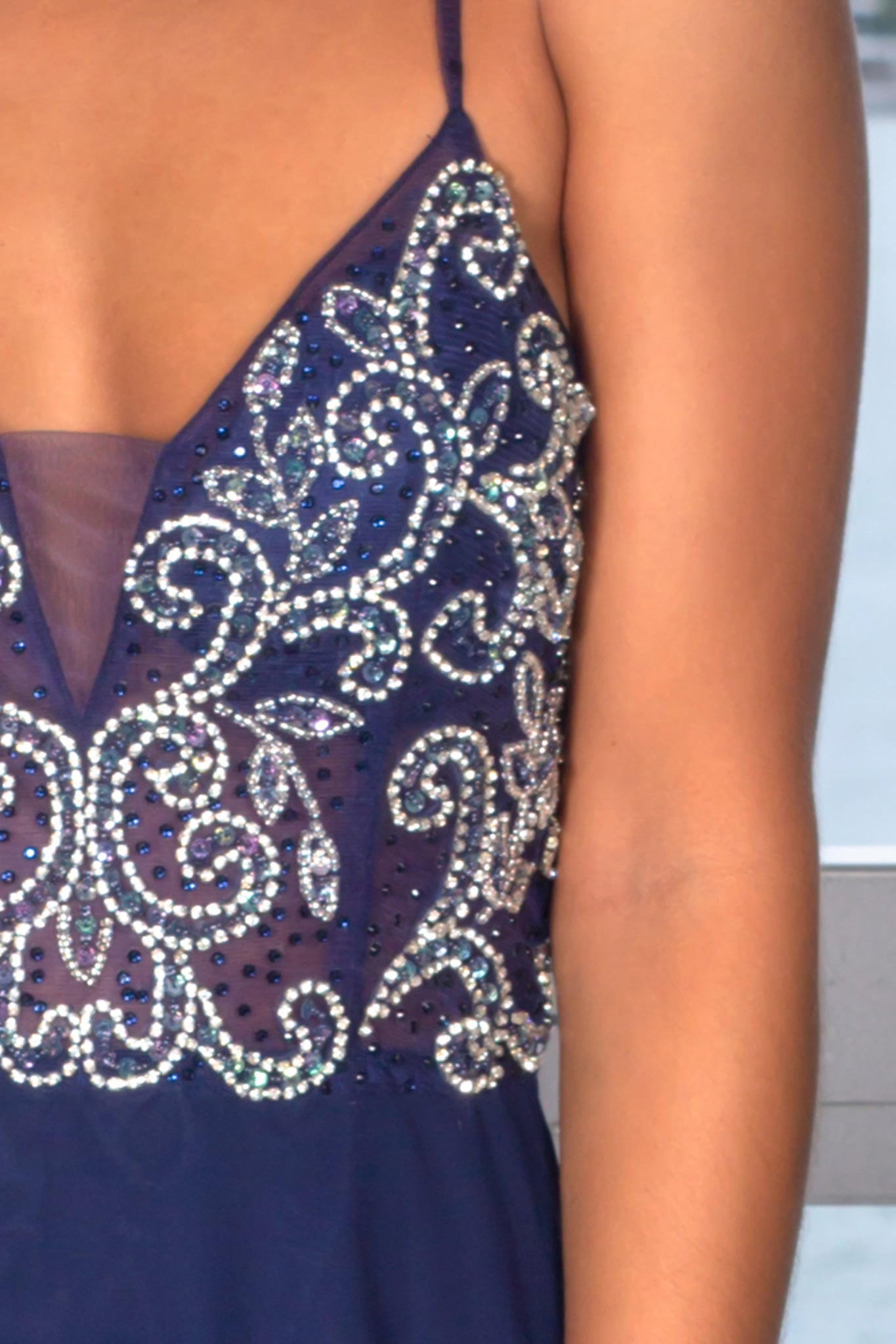 Navy Maxi Dress with Jeweled Top