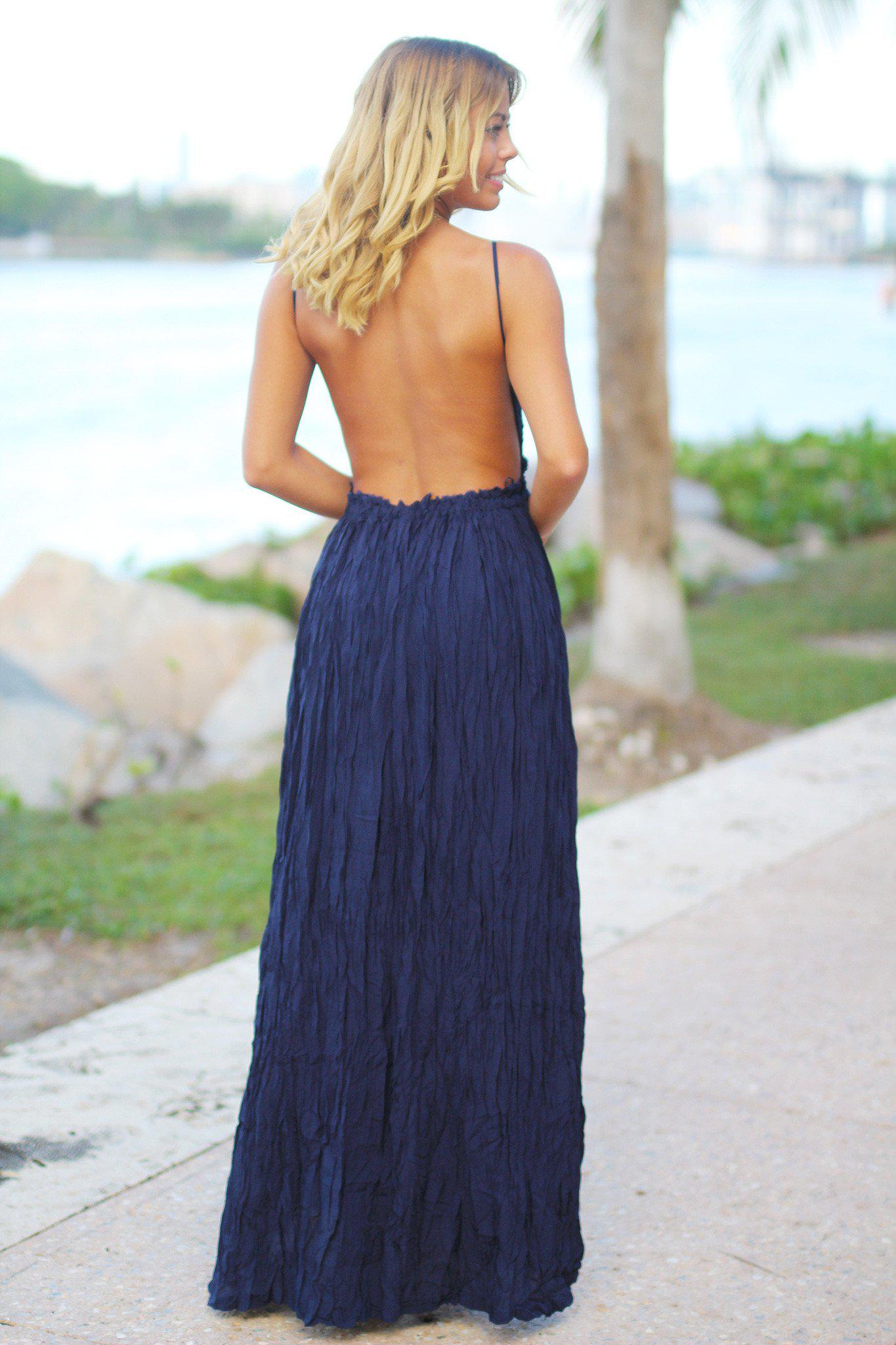 Navy Maxi Dress with Open Back