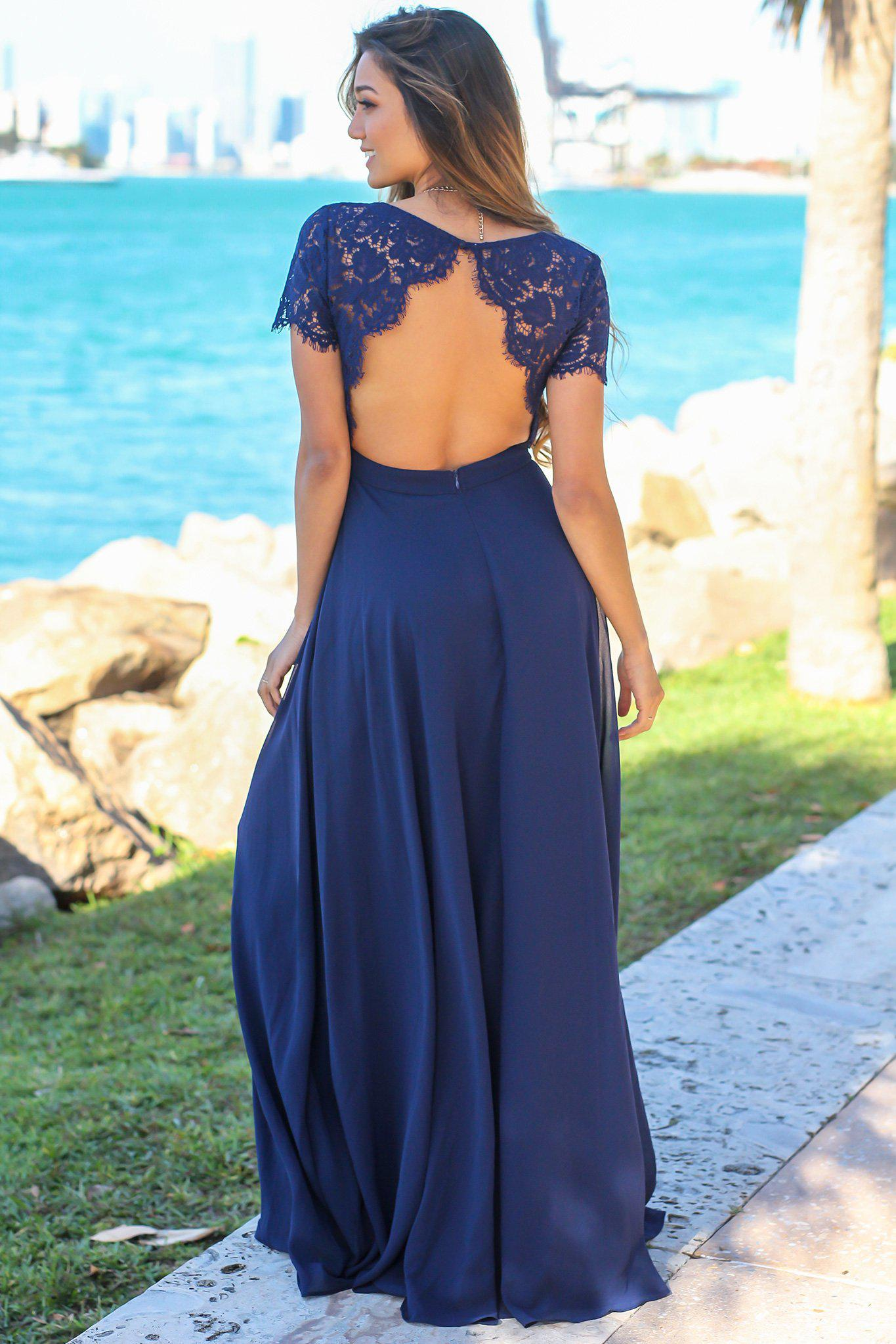 Navy Maxi Dress with Open Back and Lace Detail
