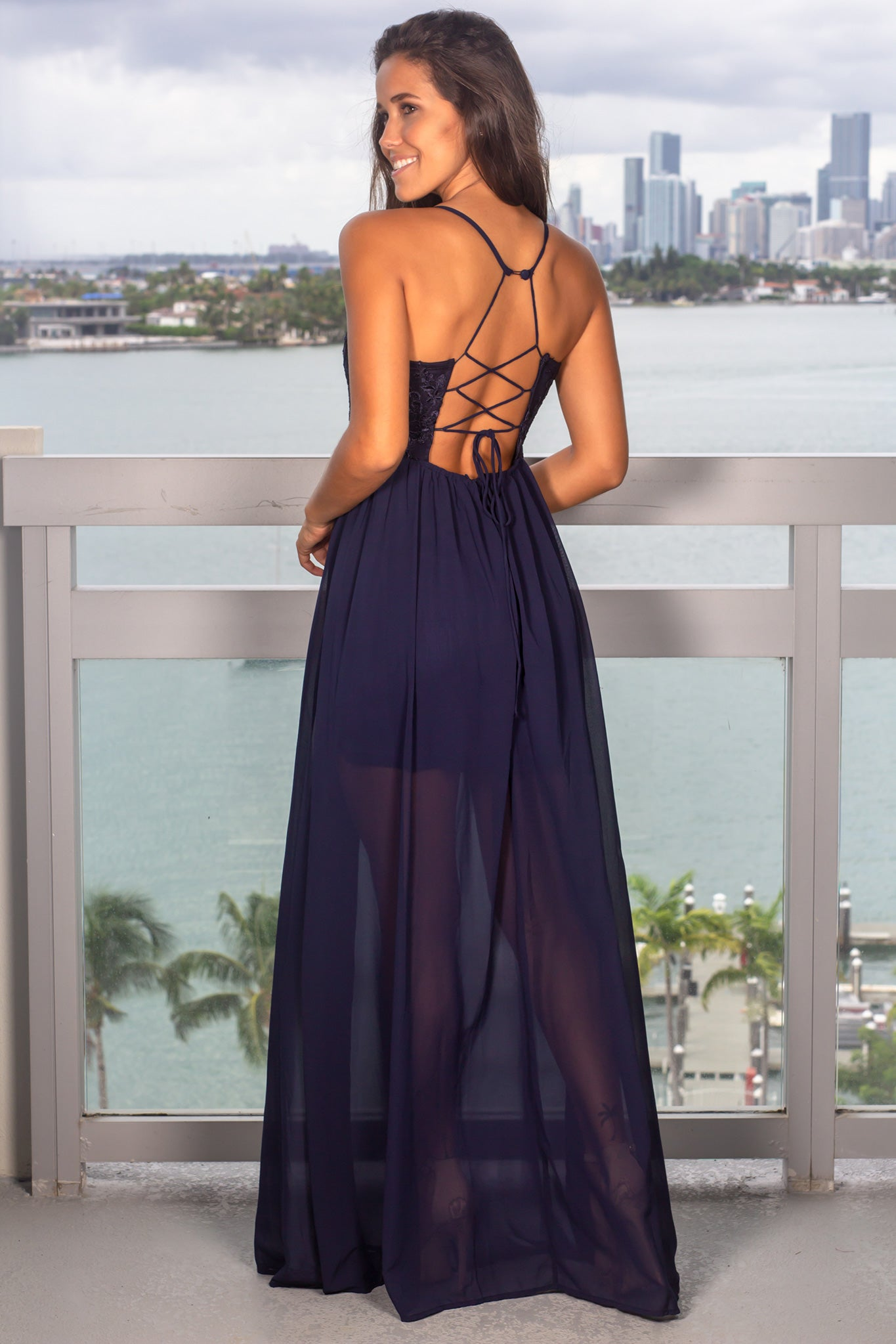 Navy Maxi Dress with Scalloped Embroidered Top