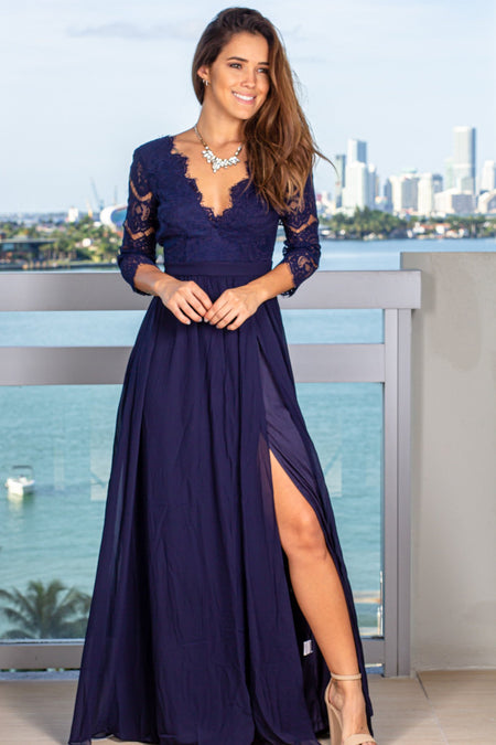 Navy Maxi Dress with Side Slit and 3/4 Sleeves