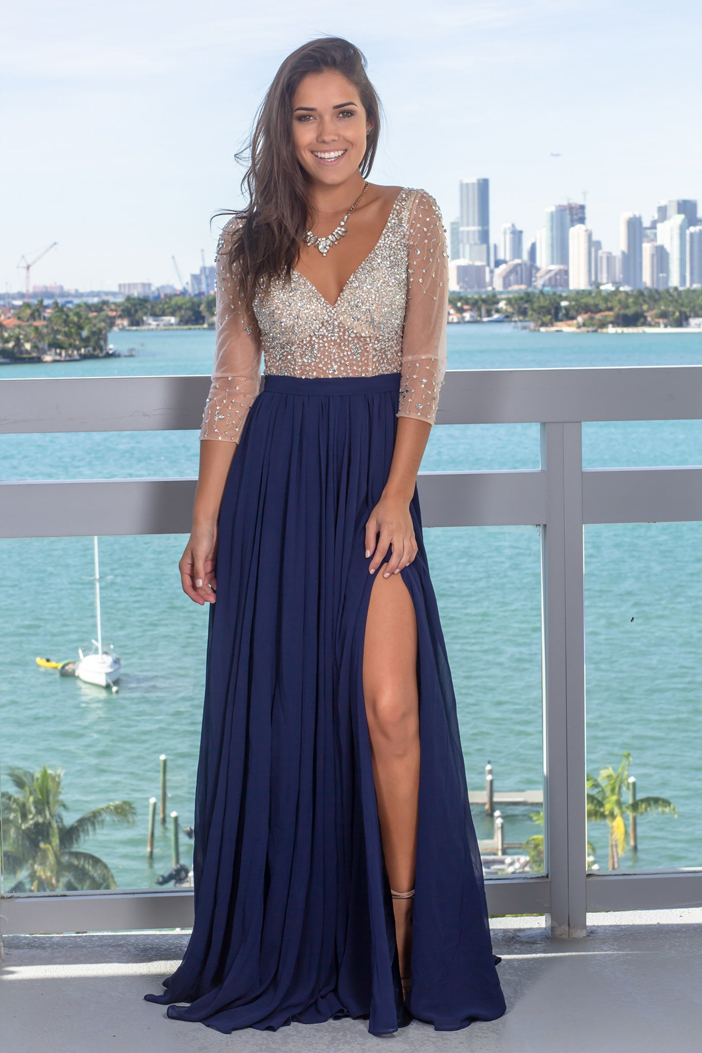 Navy Maxi Dress with Silver Jewels and 3/4 Sleeves