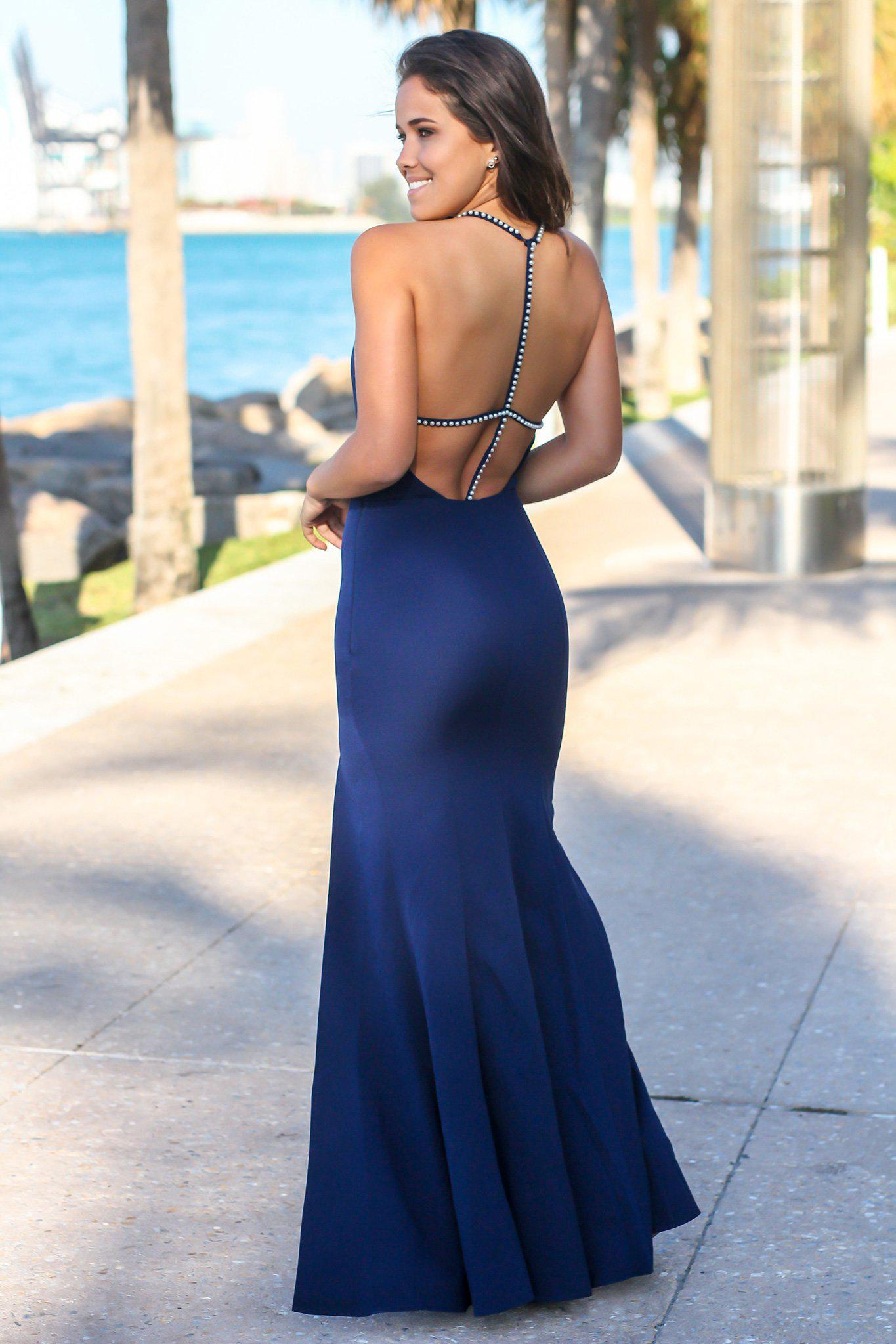 Navy Maxi Dress with Strappy Back and Pearl Detail