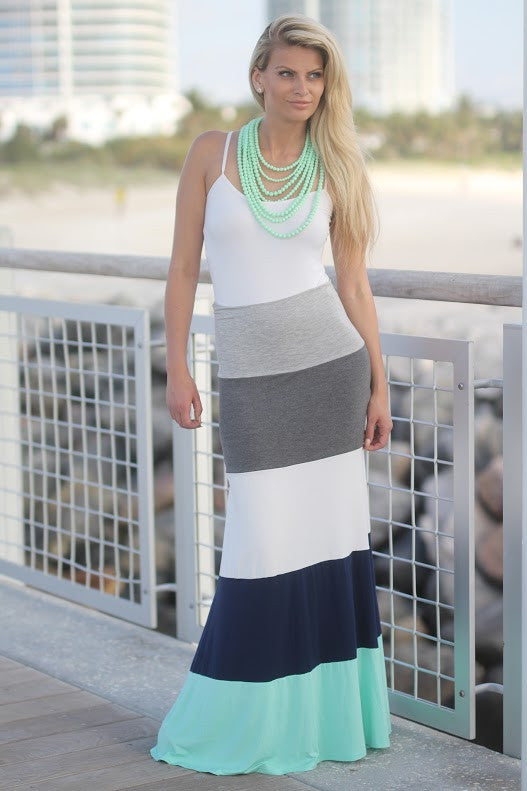 Jade and Navy Maxi Skirt