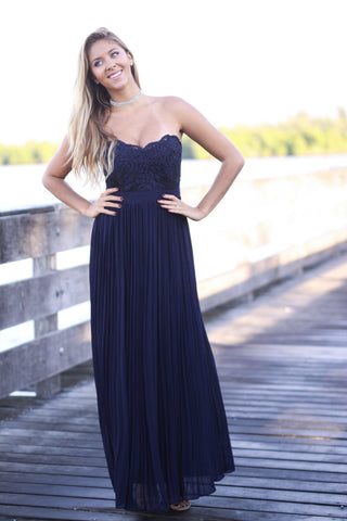 Navy Strapless Pleated Maxi Dress