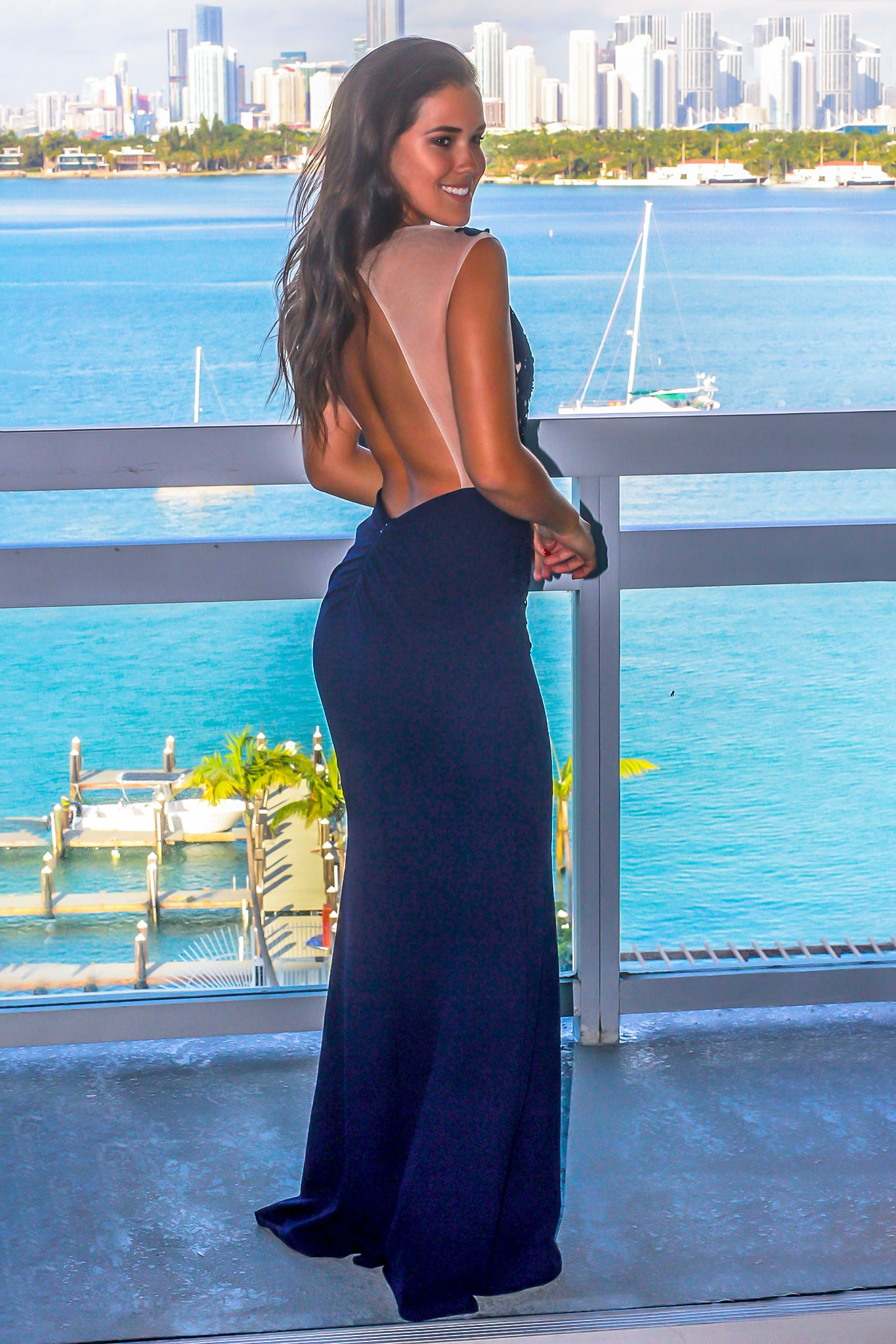 Navy Mesh Top Maxi Dress with Open Back