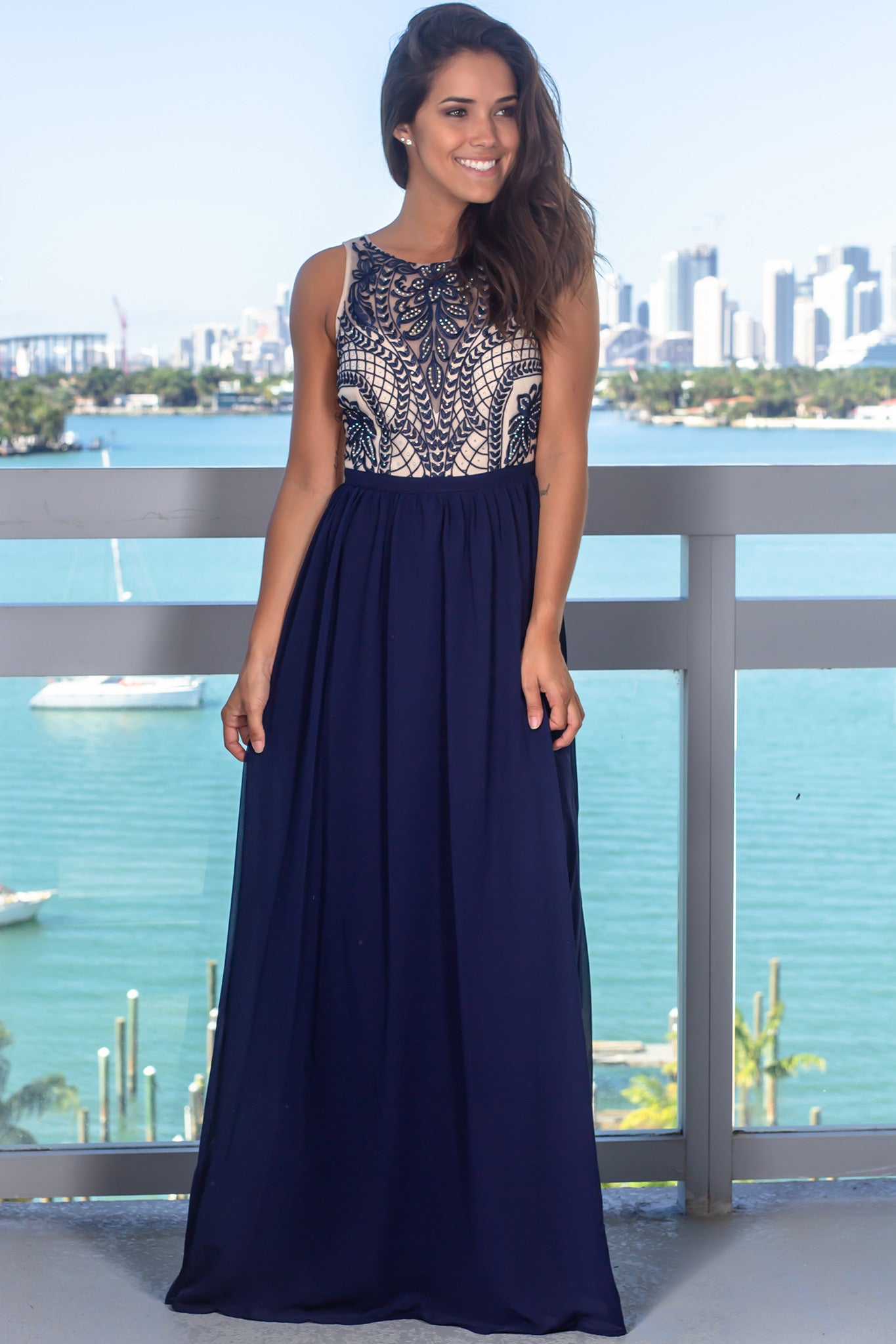 Navy Mesh Top Maxi Dress with Sequins