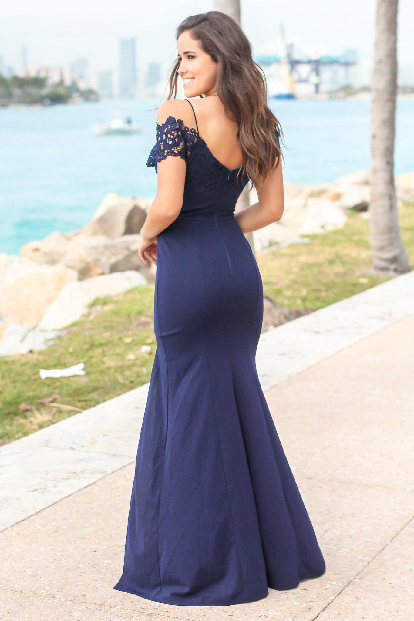 Navy Off Shoulder Maxi Dress with Crochet Detail and Side Slit