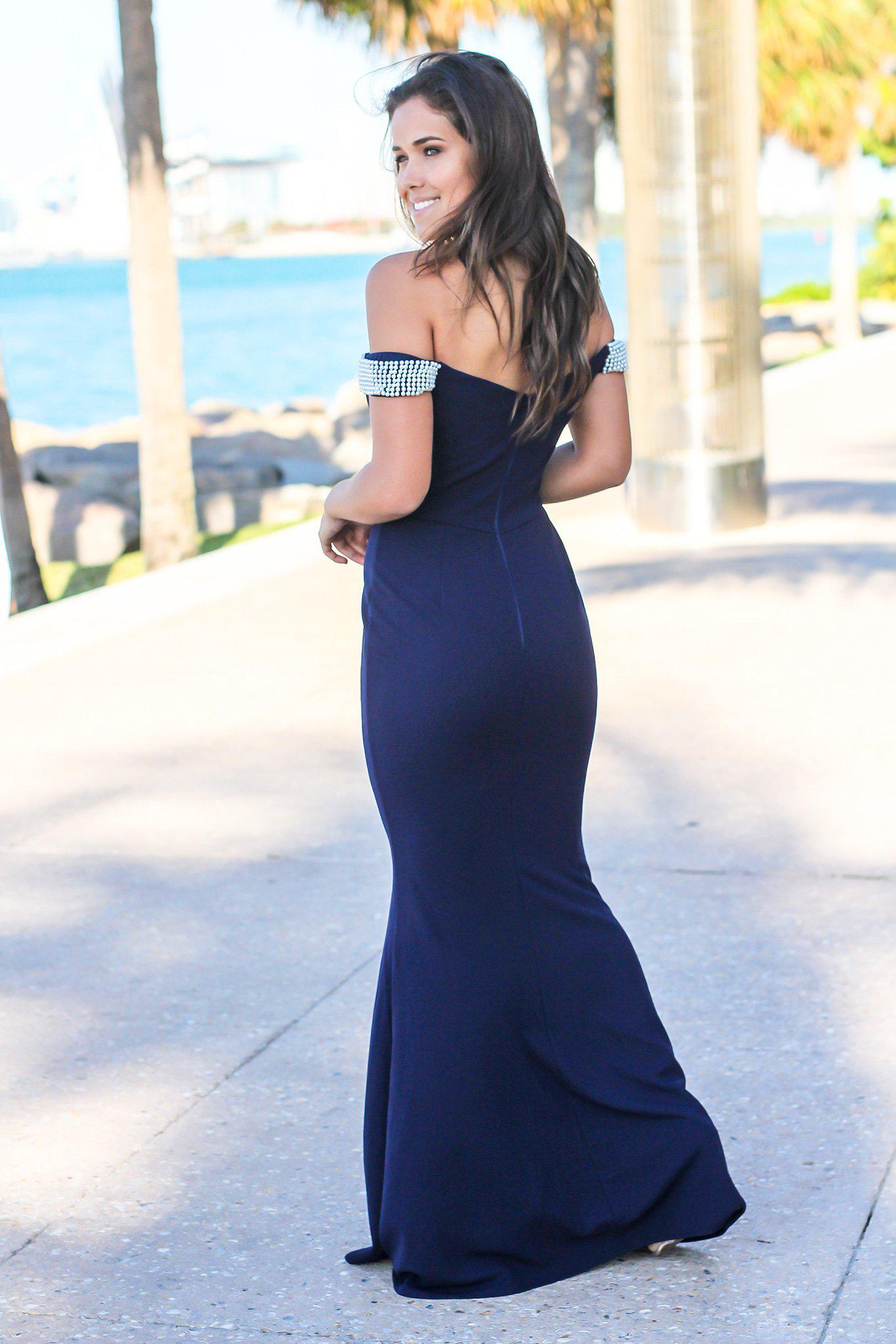 Navy Off Shoulder Maxi Dress with Pearl Detail