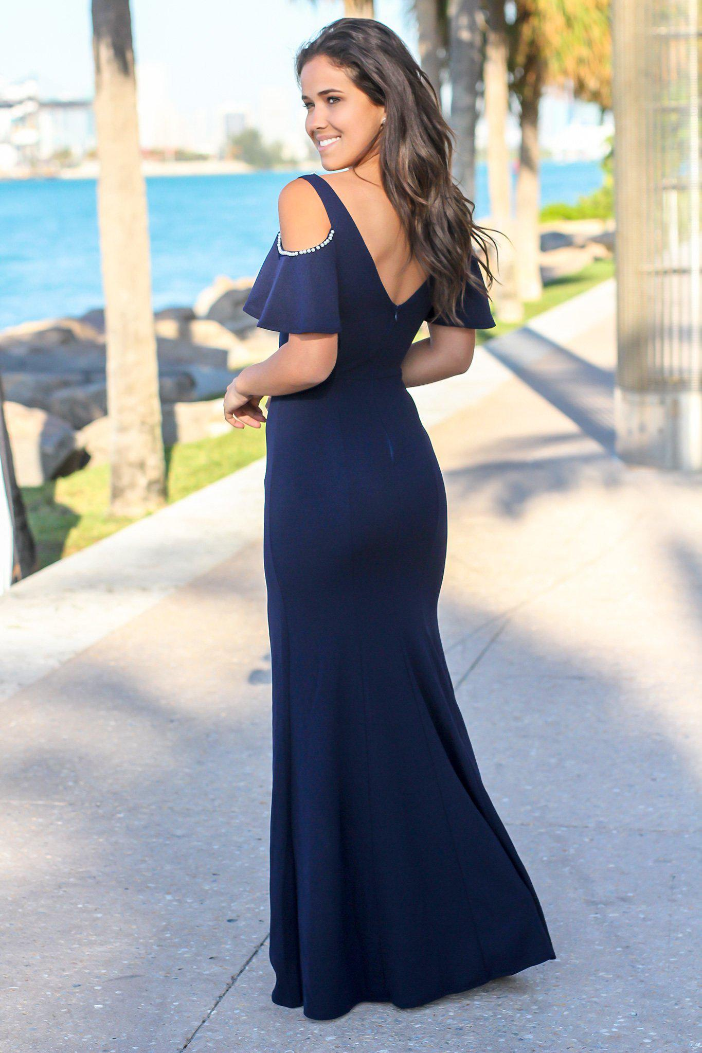 Navy Off Shoulder Maxi Dress with Side Slit and Pearl Detail