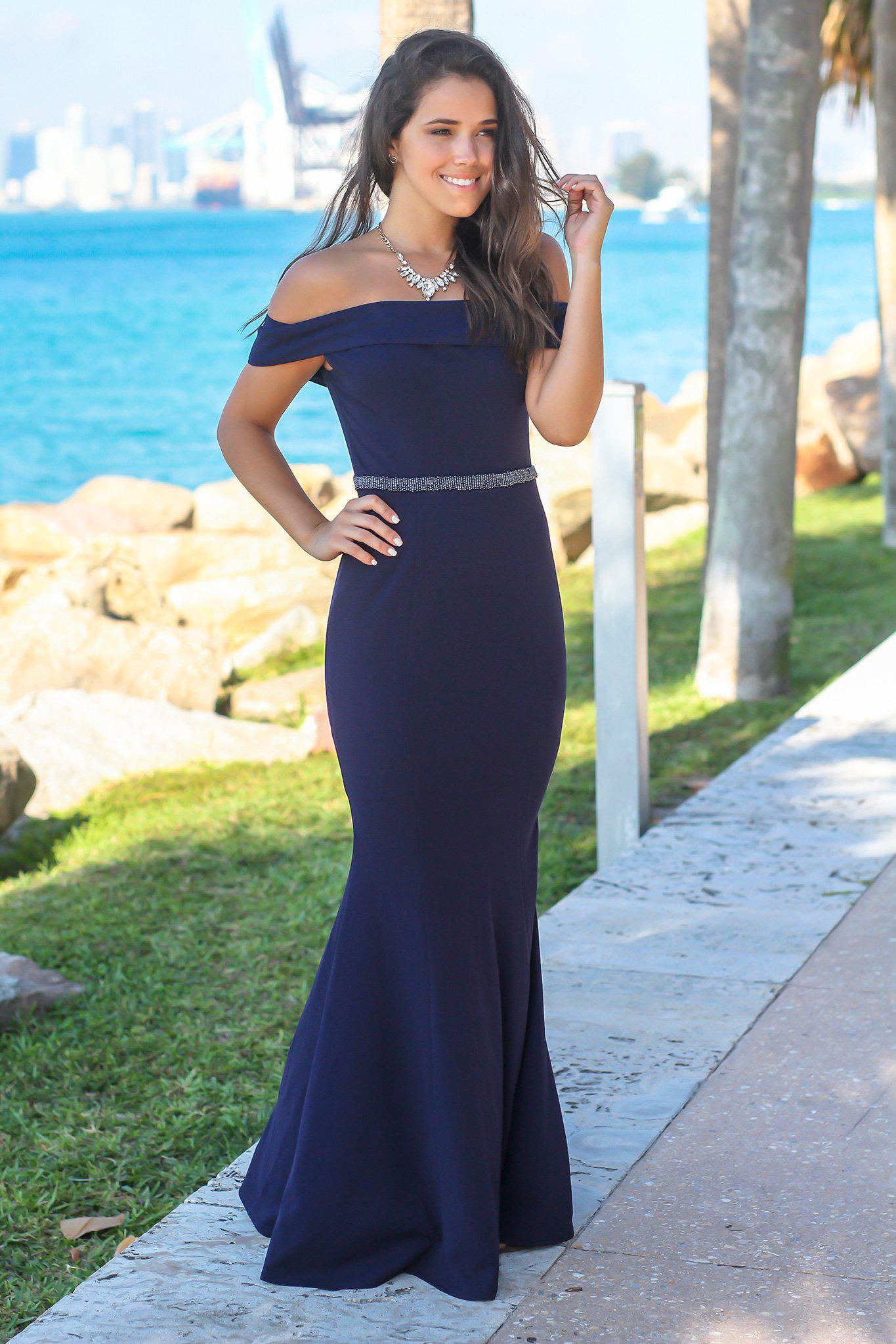 Navy Off Shoulder Maxi Dress with Waist Detail