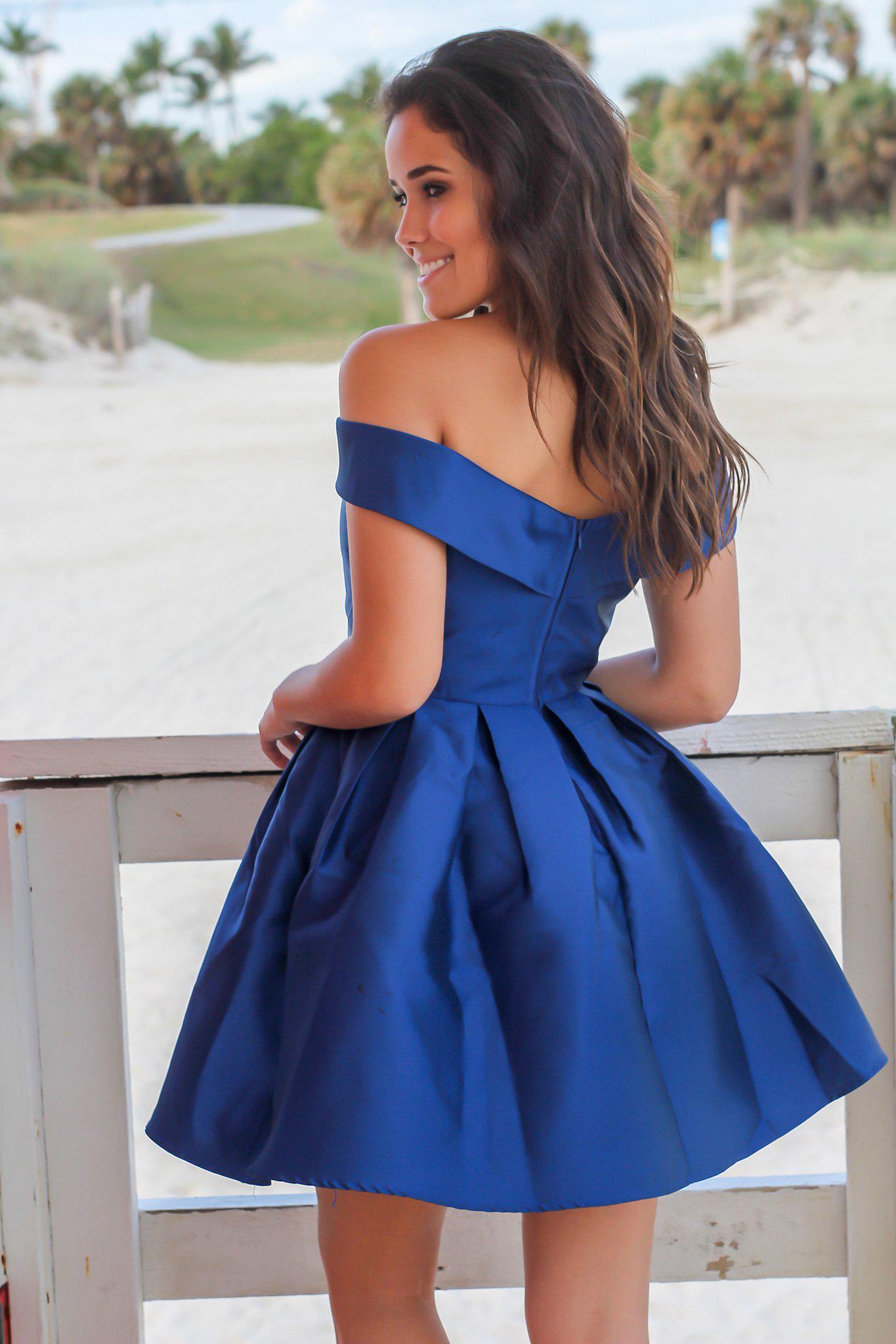 Navy Off Shoulder Short Dress