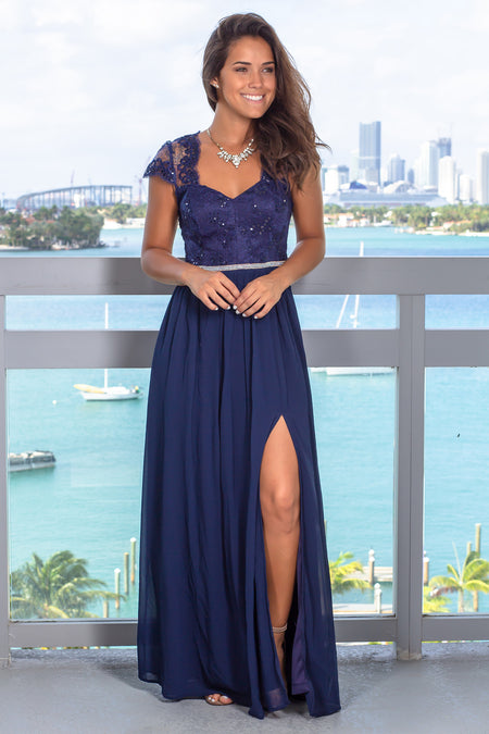 Navy Open Back Maxi Dress with Jewel Detail
