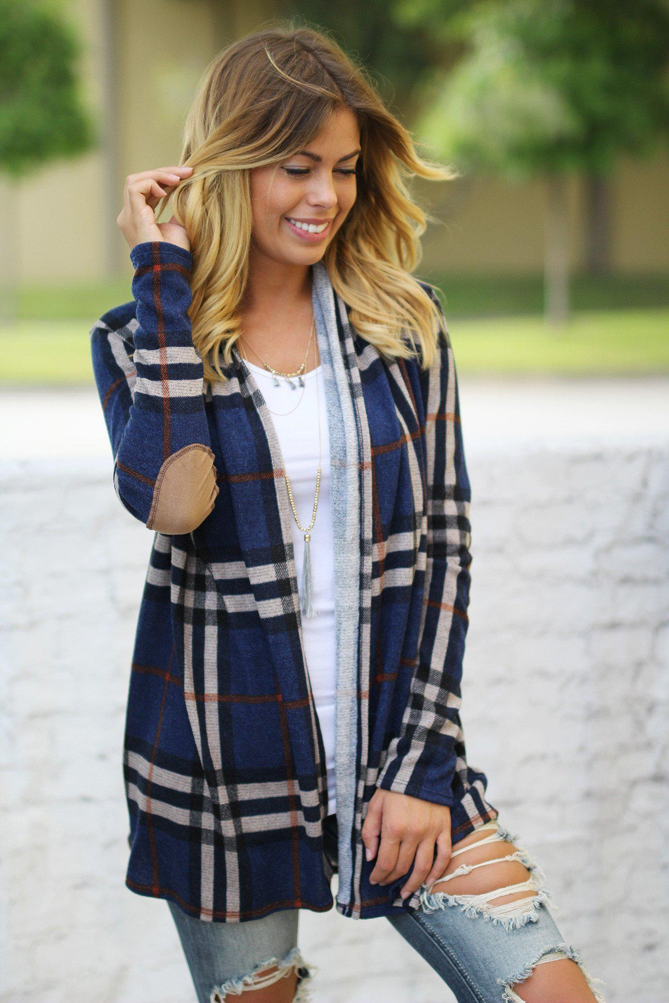 navy and plaid cardigan with elbow patches