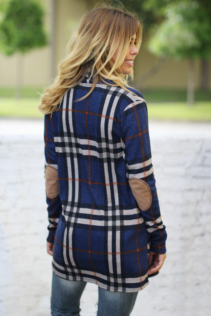 plaid loose fit cardigan
