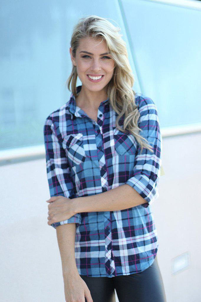 Navy Plaid Shirt