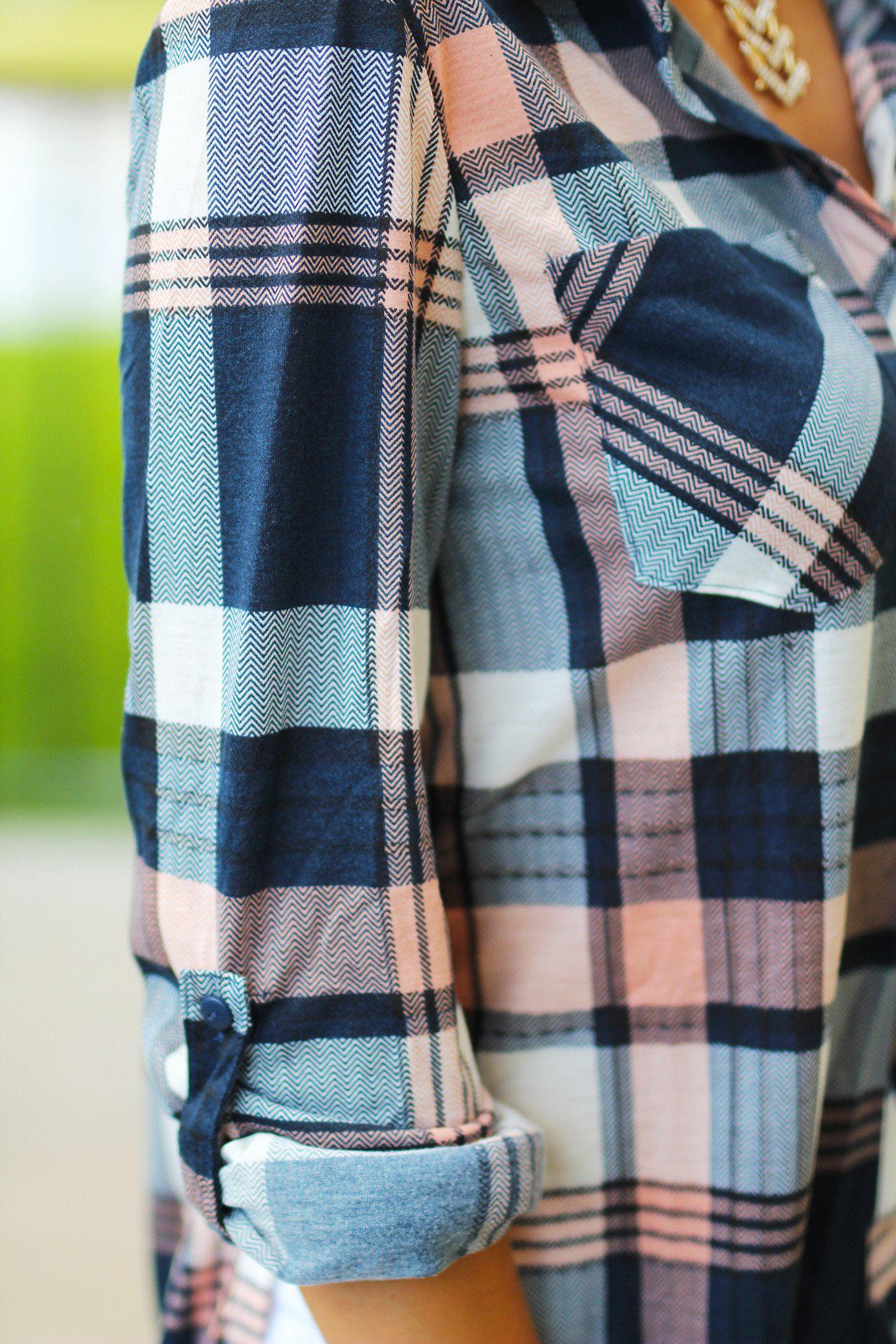 Peach and Navy Plaid Top