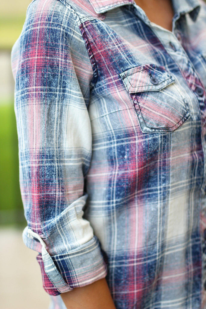 plaid top with roll up sleeves