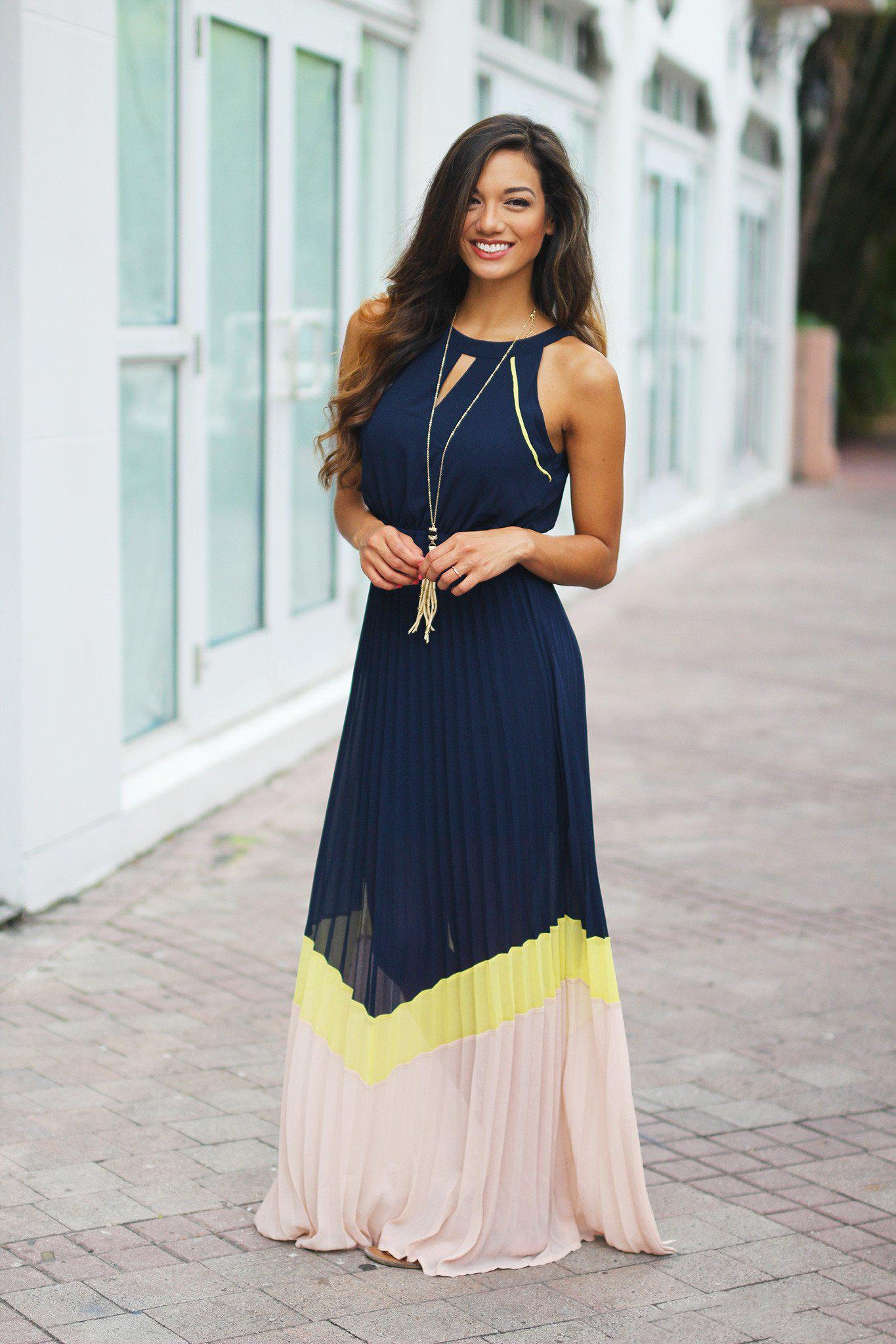 Navy Color Block Pleated Maxi Dress