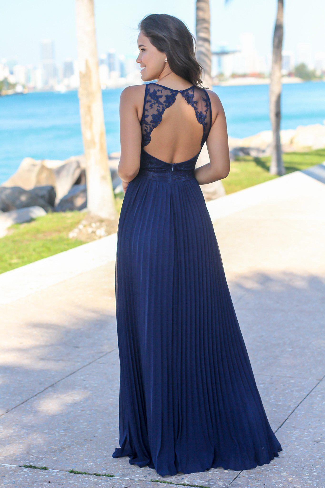 Navy Pleated Maxi Dress with Embroidered Top
