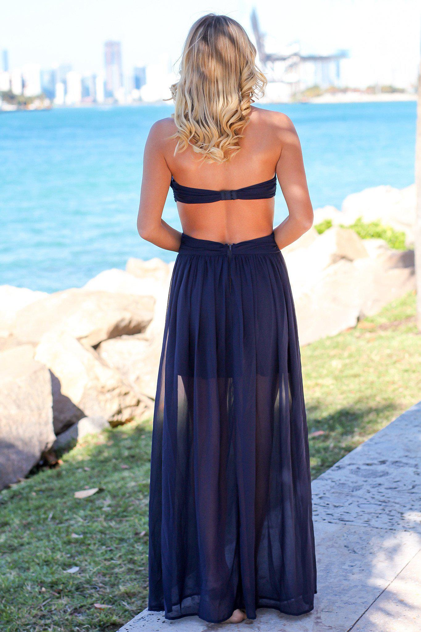 Navy Pleated Strapless Maxi Dress with Side Slit