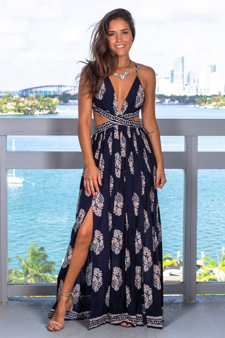Navy Printed Cut Out Maxi Dress