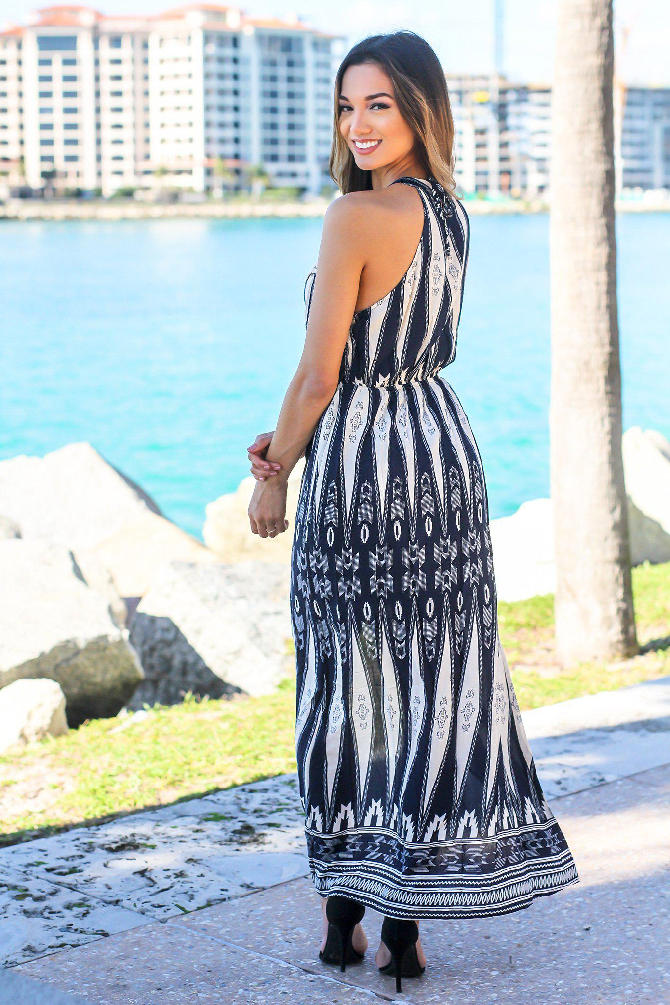 Navy Printed Dress with Crochet Detail