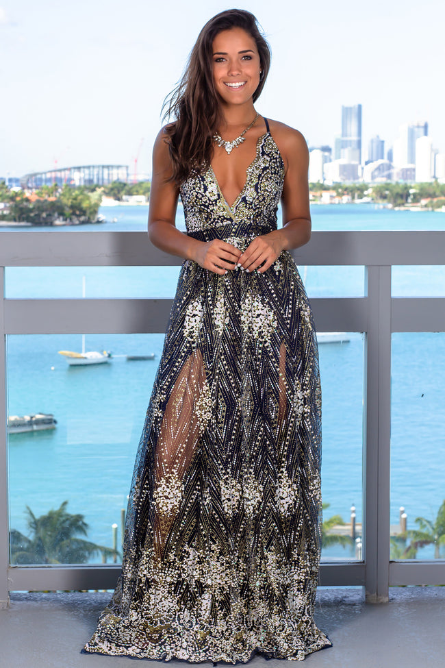 Navy Printed Maxi Dress with Criss Cross Back