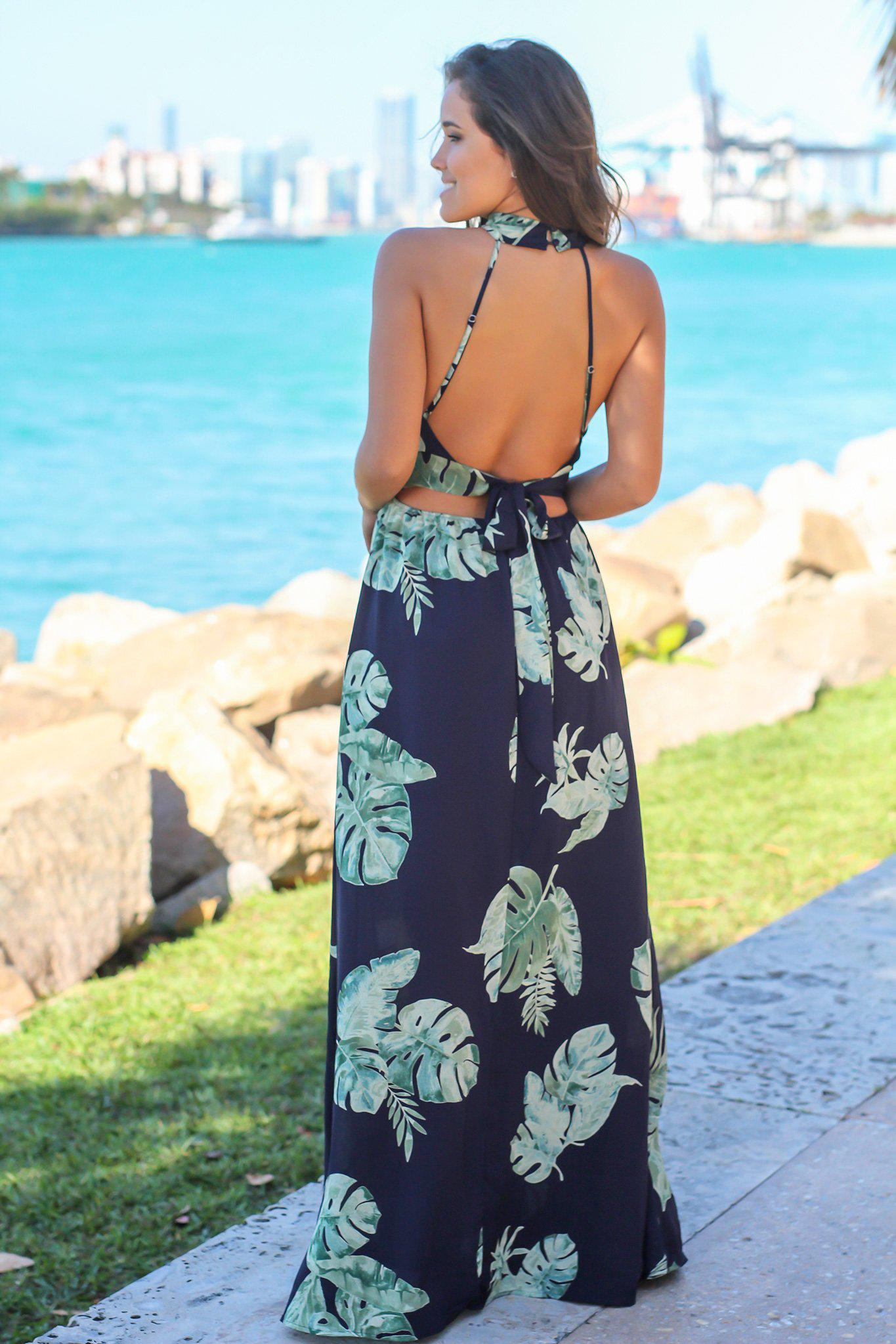 Navy Printed Maxi Dress with Open Back