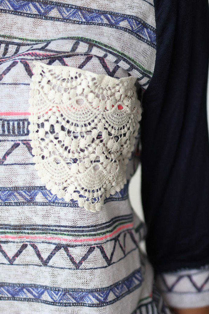 Navy Printed Top With Crochet Pocket