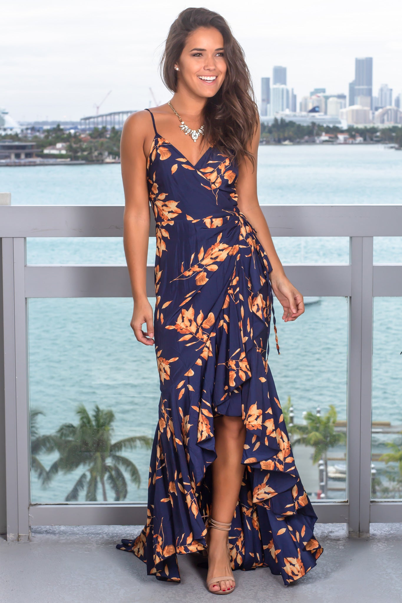 Navy Printed Wrap Dress with Ruffled Hem