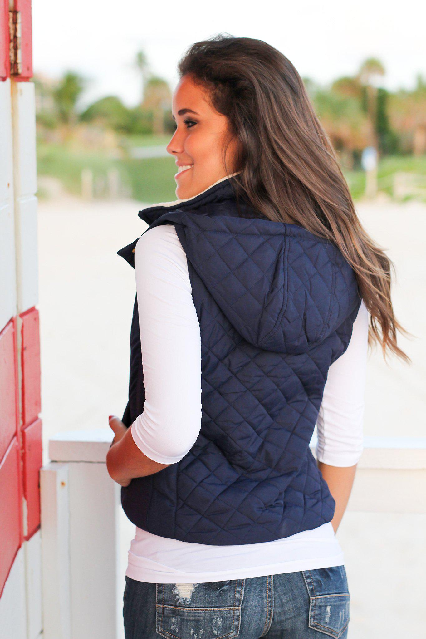 Navy Quilted Vest with Fur Collar | Vests – Saved by the Dress : quilted vest navy - Adamdwight.com
