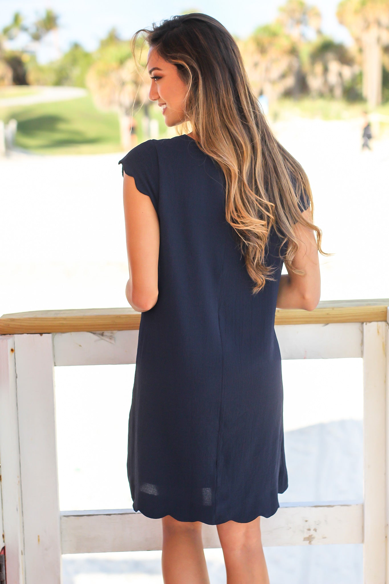 Navy Scalloped Short Dress with Keyhole