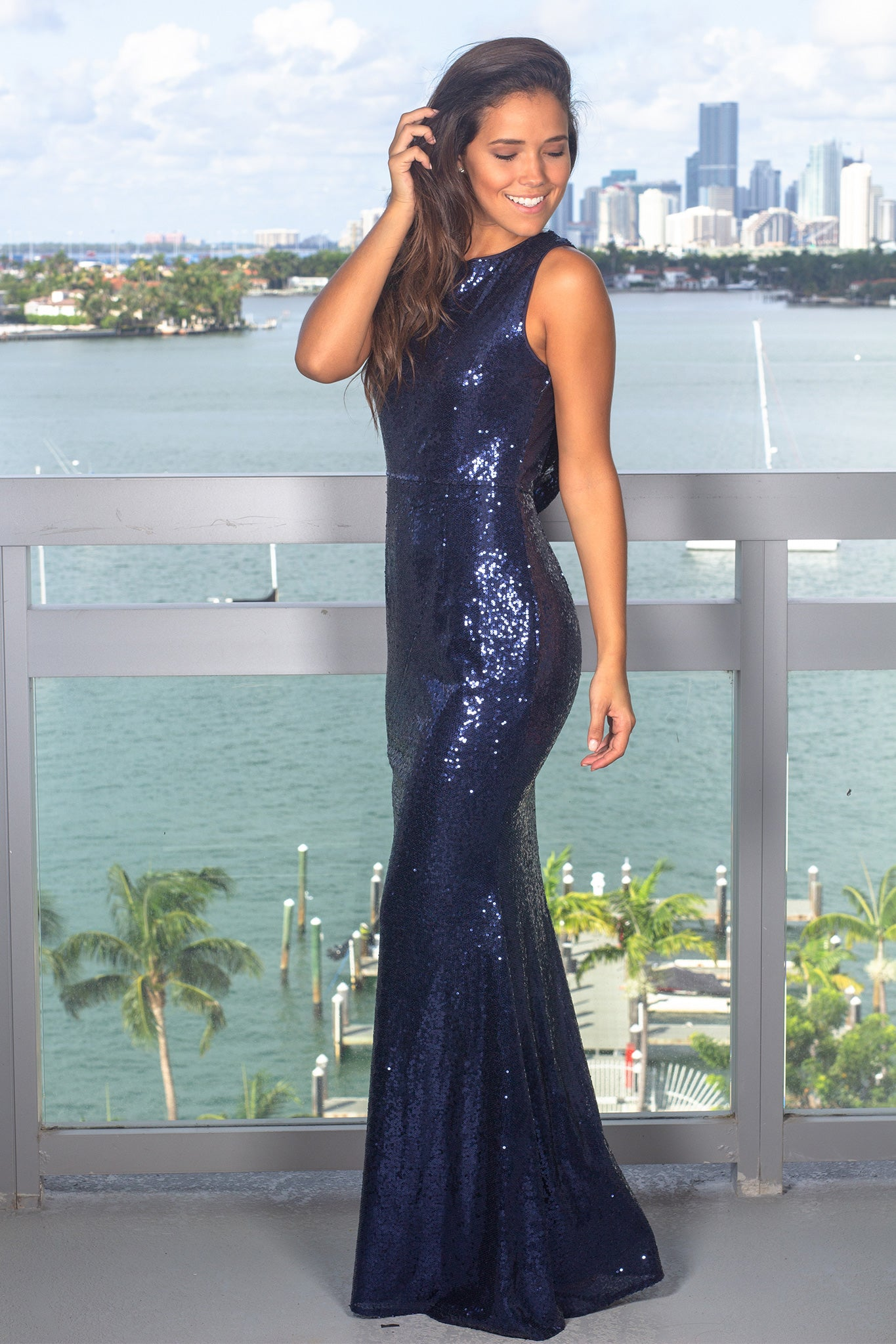Navy Sequin Maxi Dress with Draped Back