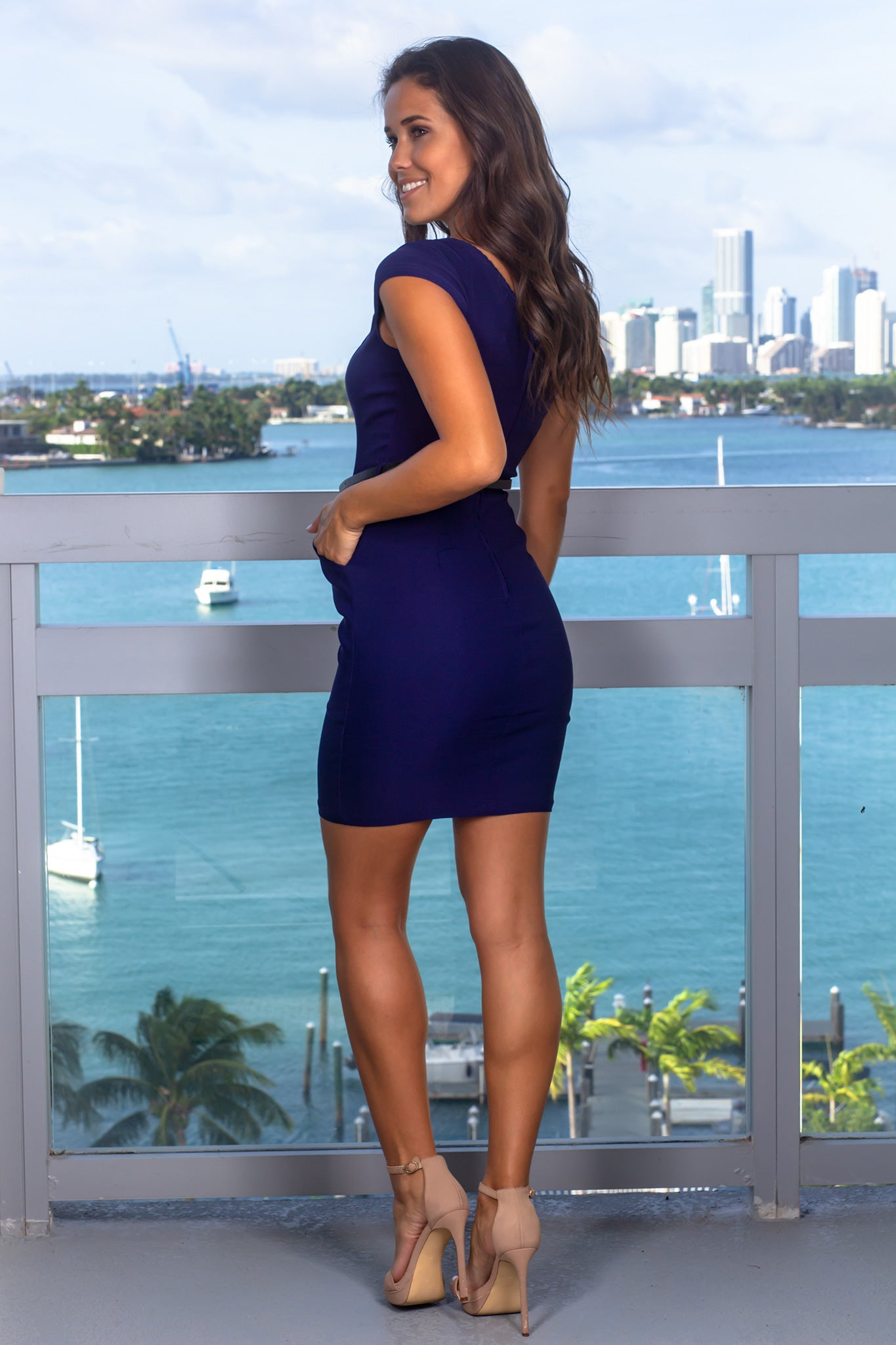 Navy Short Dress with Belt