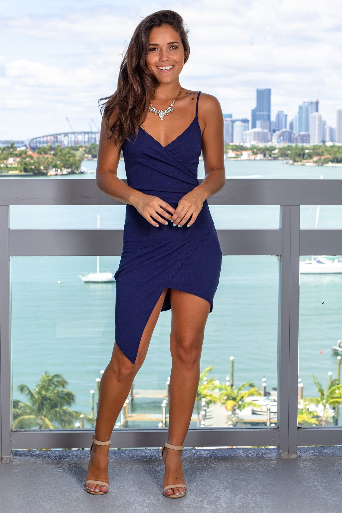 Navy Short Dress with Ruched Side