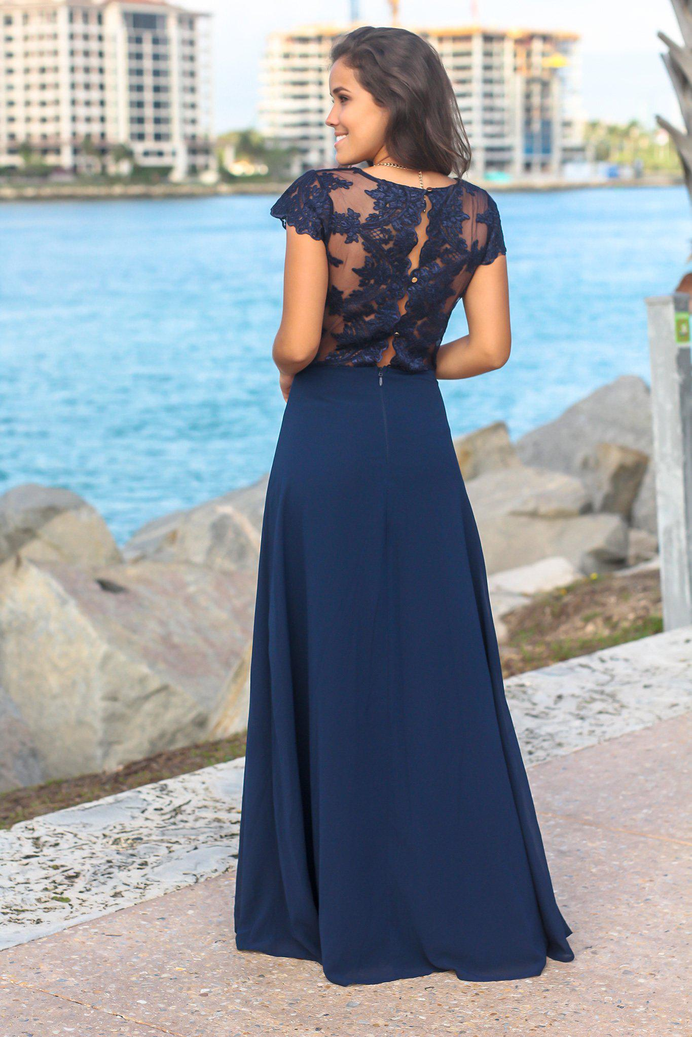 Navy Short Sleeve Maxi Dress with Embroidered Top and Slit