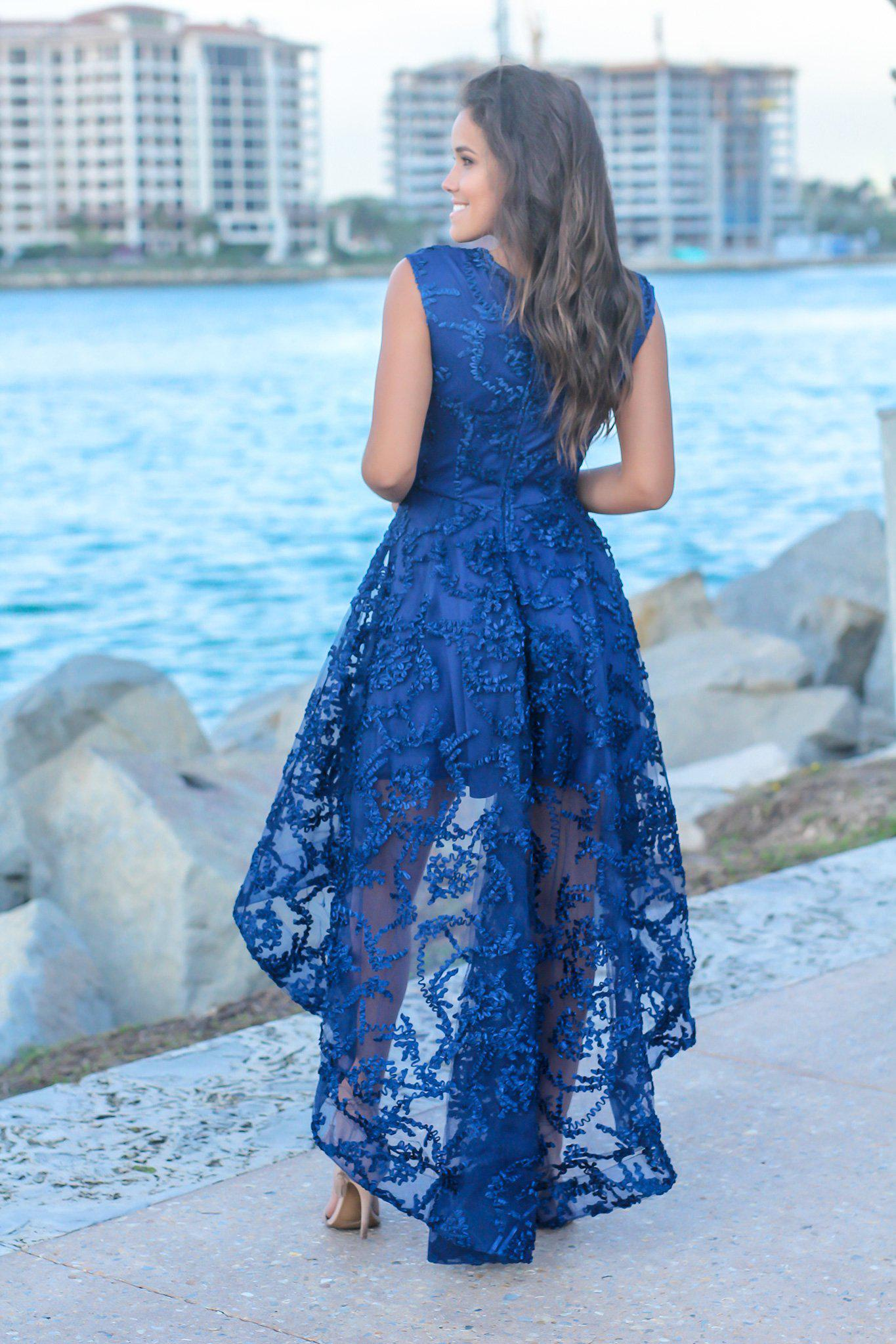 Navy Sleeveless Embroidered High Low Dress
