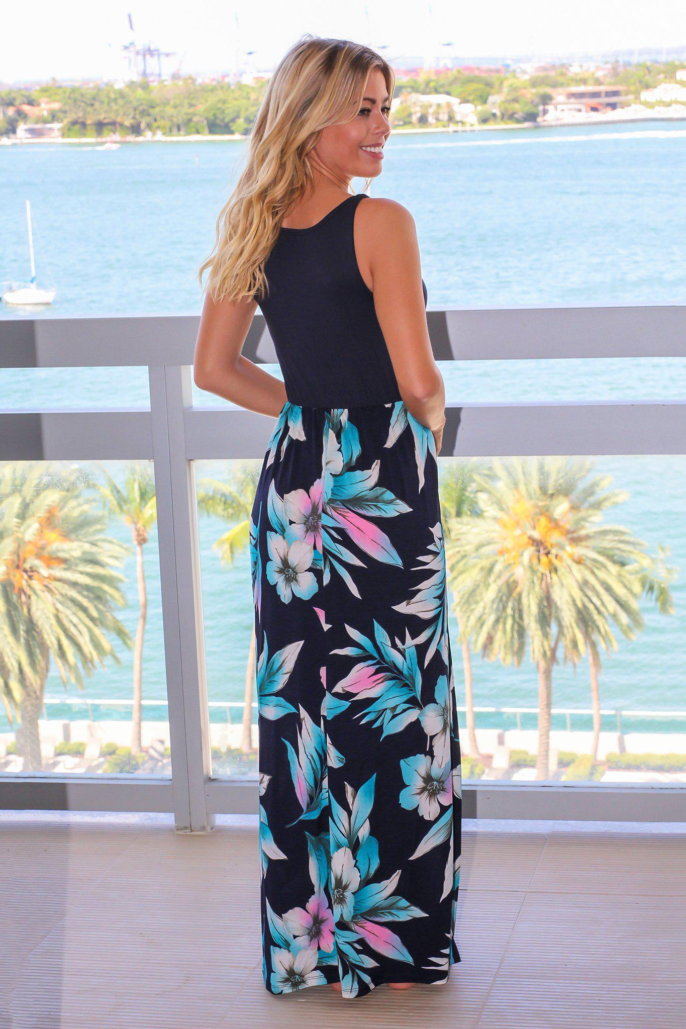 Navy Sleeveless Maxi Dress with Floral Skirt