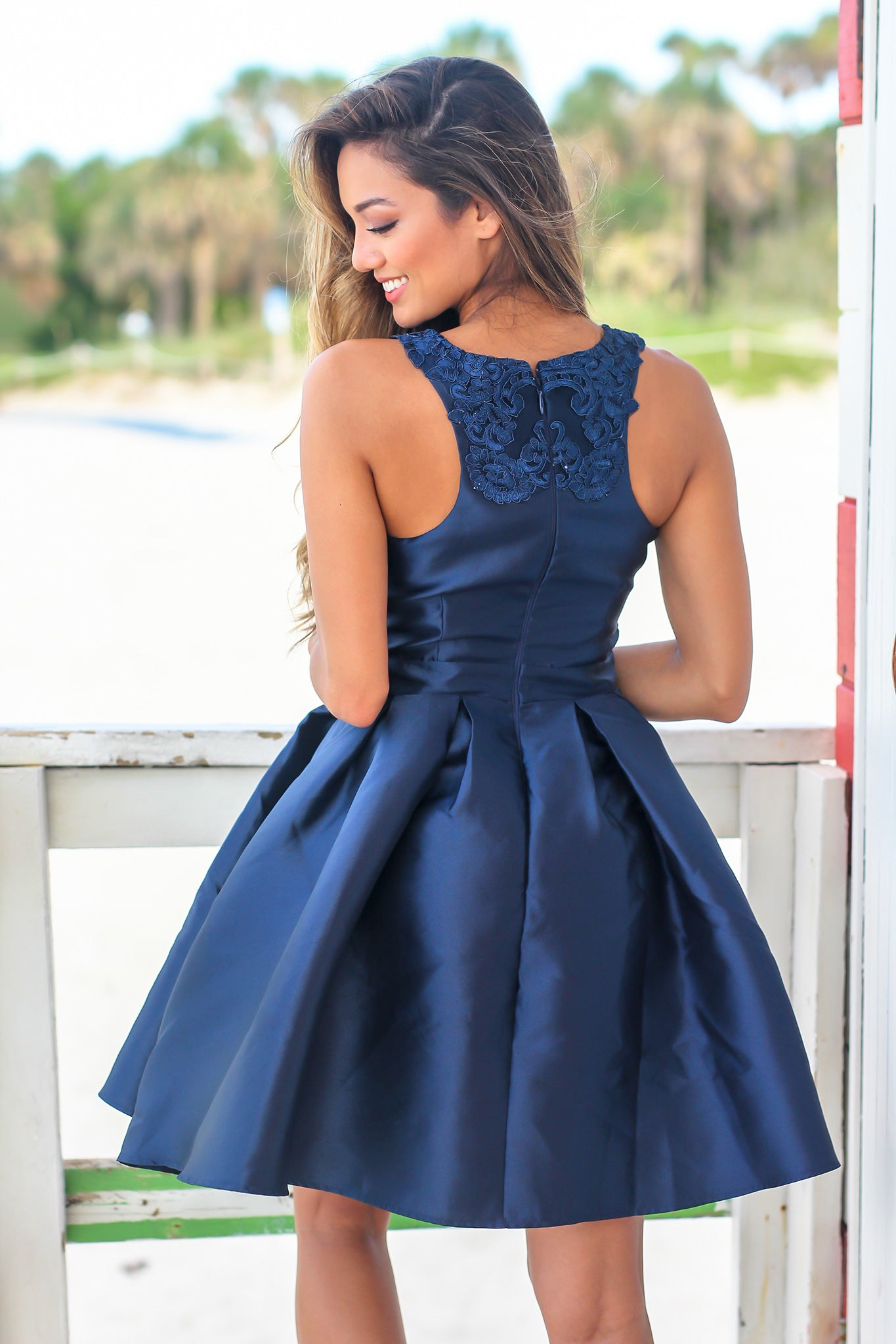 Navy Sleeveless Short Dress with Embroidered Top