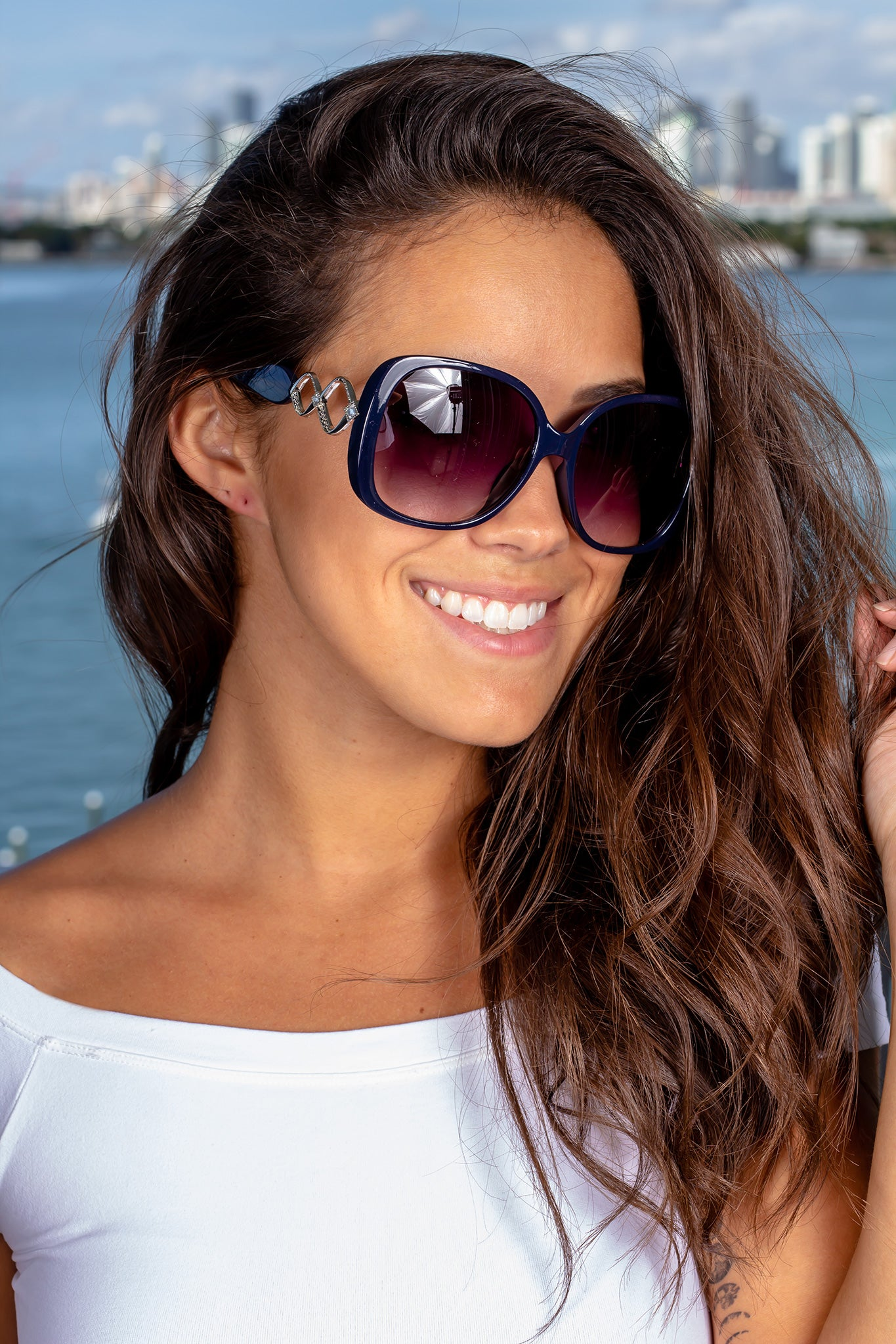 Navy Squared Sunglasses with Silver Details