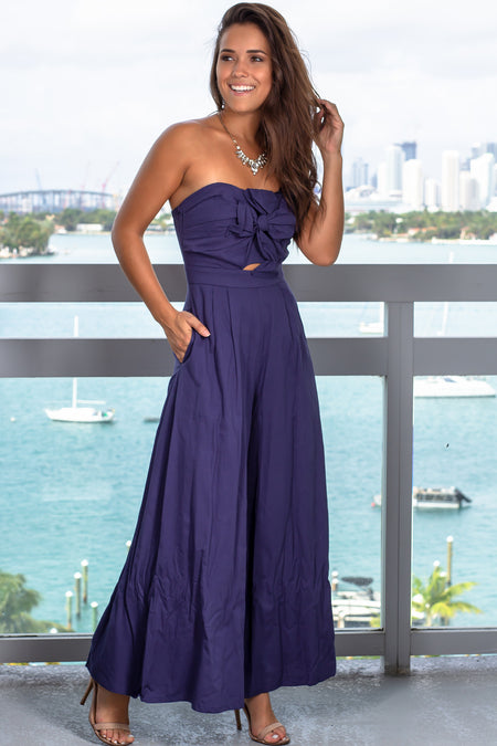 Navy Strapless Jumpsuit with Bow Detail