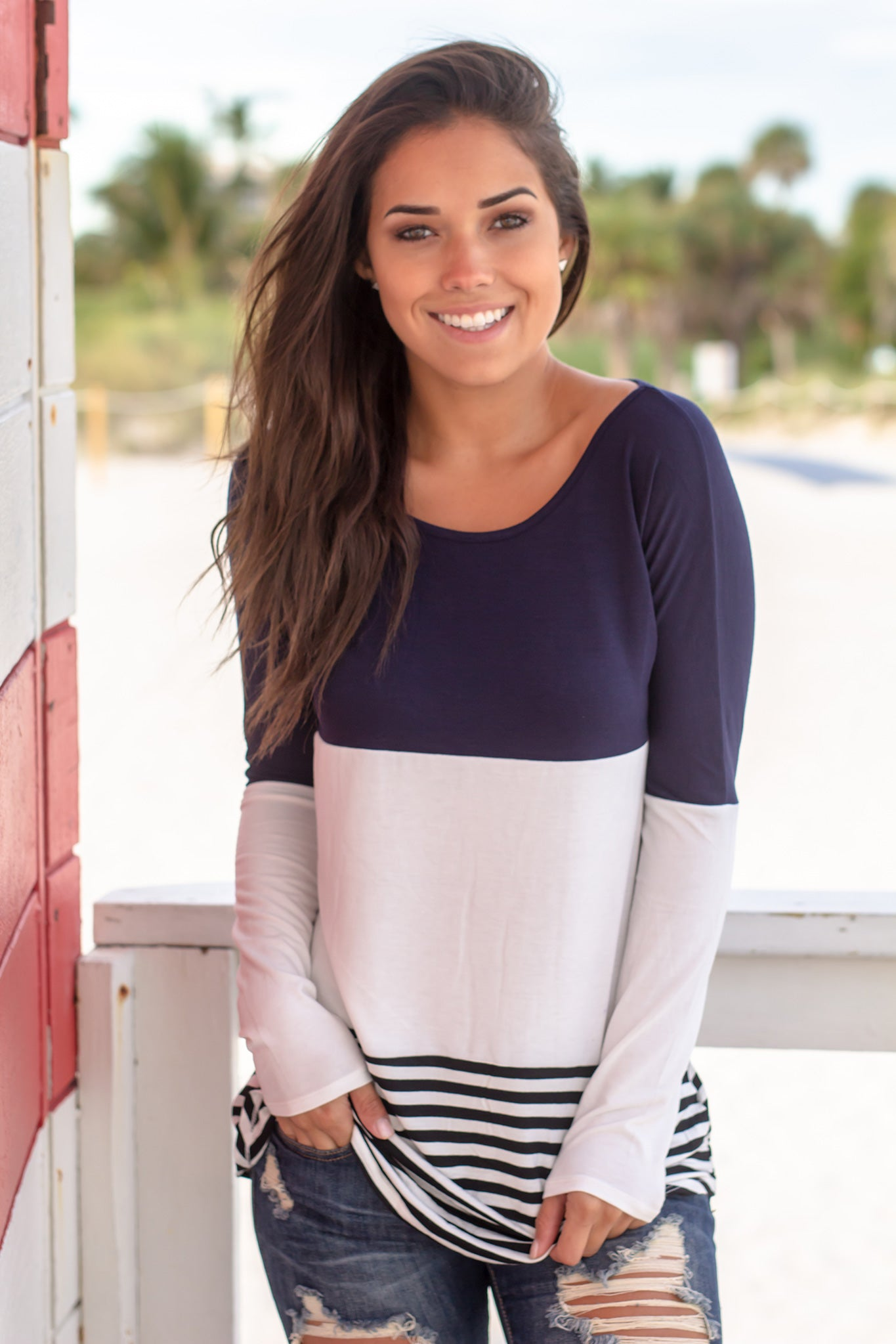 Navy Striped Color Block Top