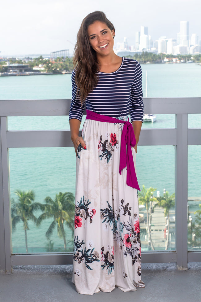 Navy Striped Maxi Dress with Floral Skirt