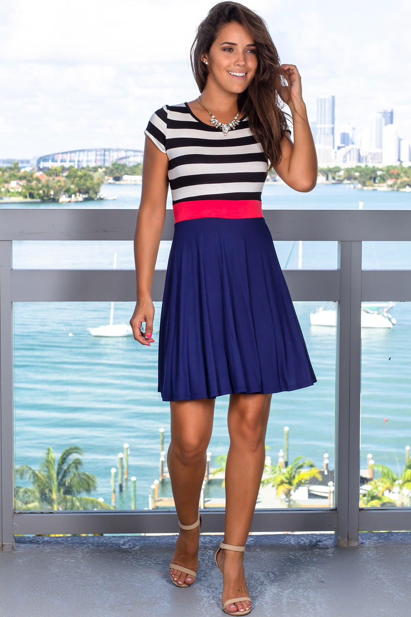 Navy Striped Short Dress