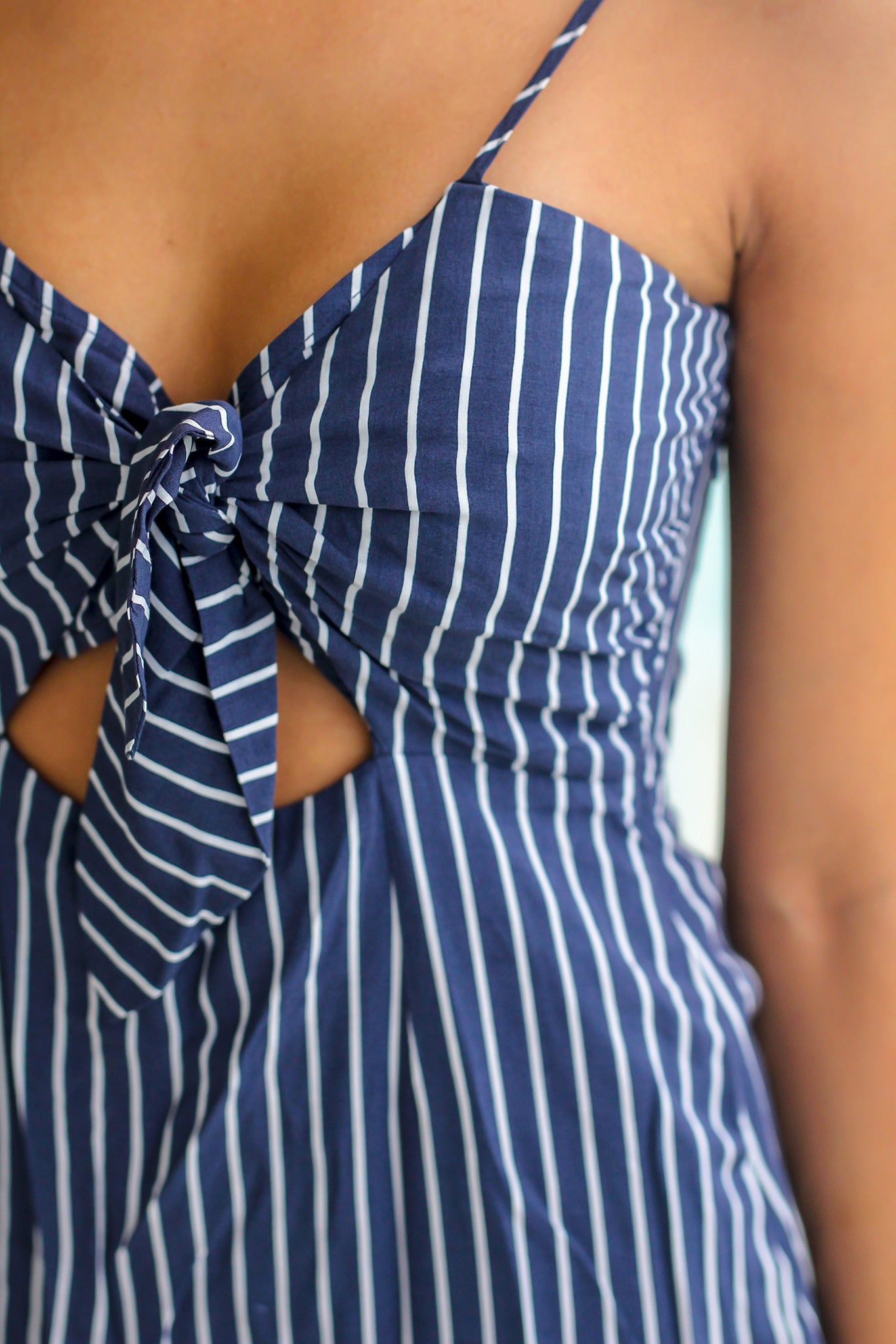 Navy Striped Short Dress with Tie Top