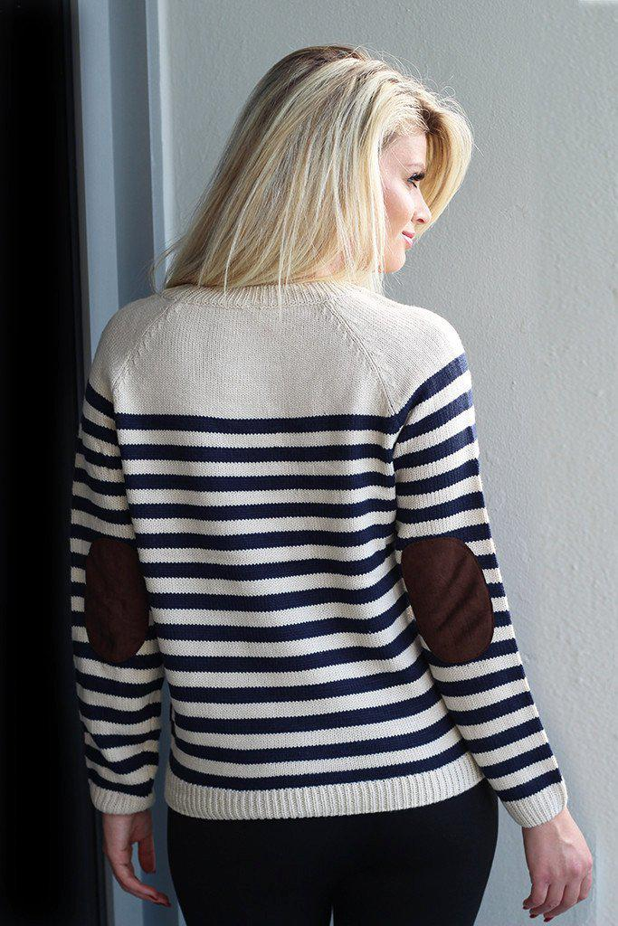 striped patched sweater