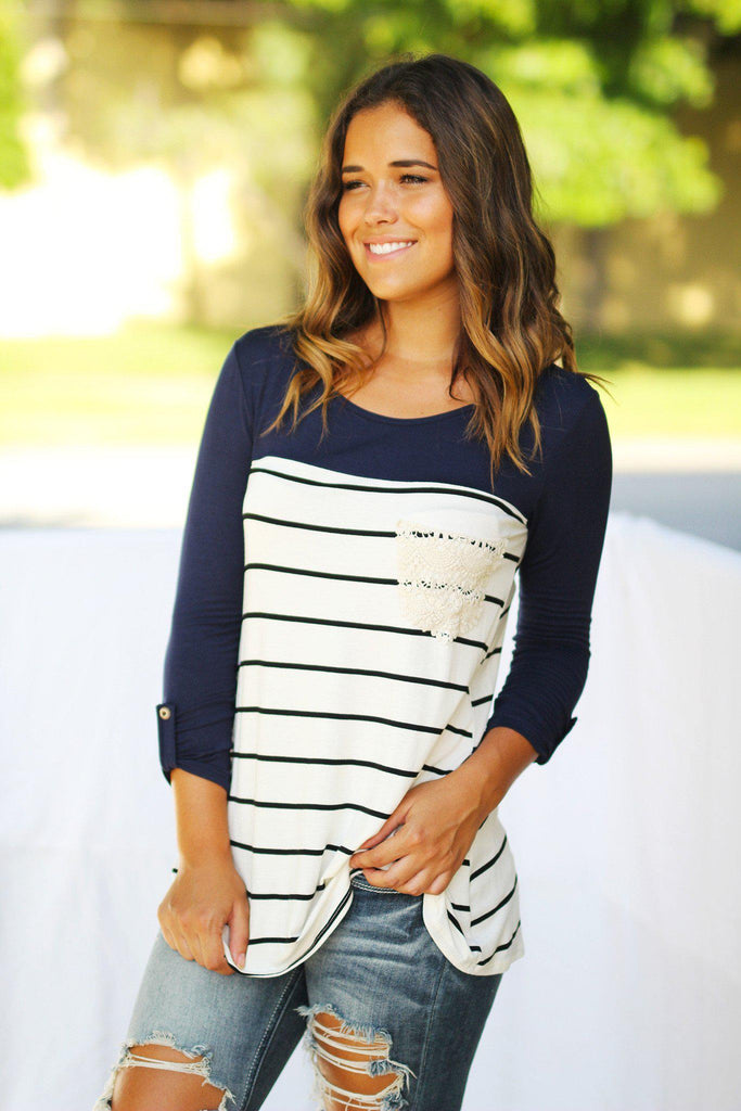 Navy Striped Top with Crochet Pocket