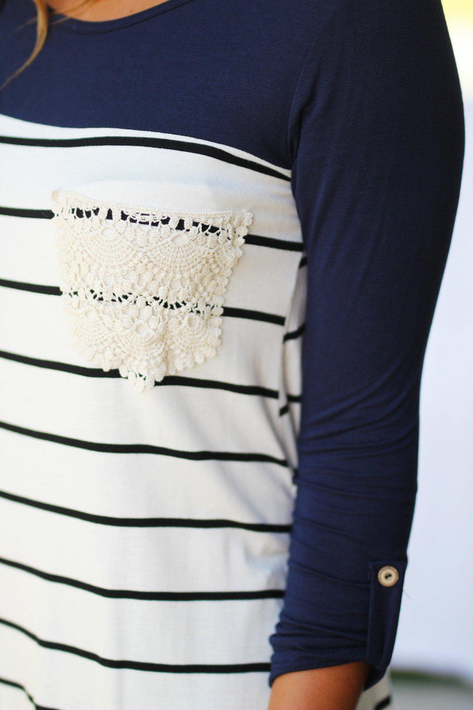 striped crochet pocket top